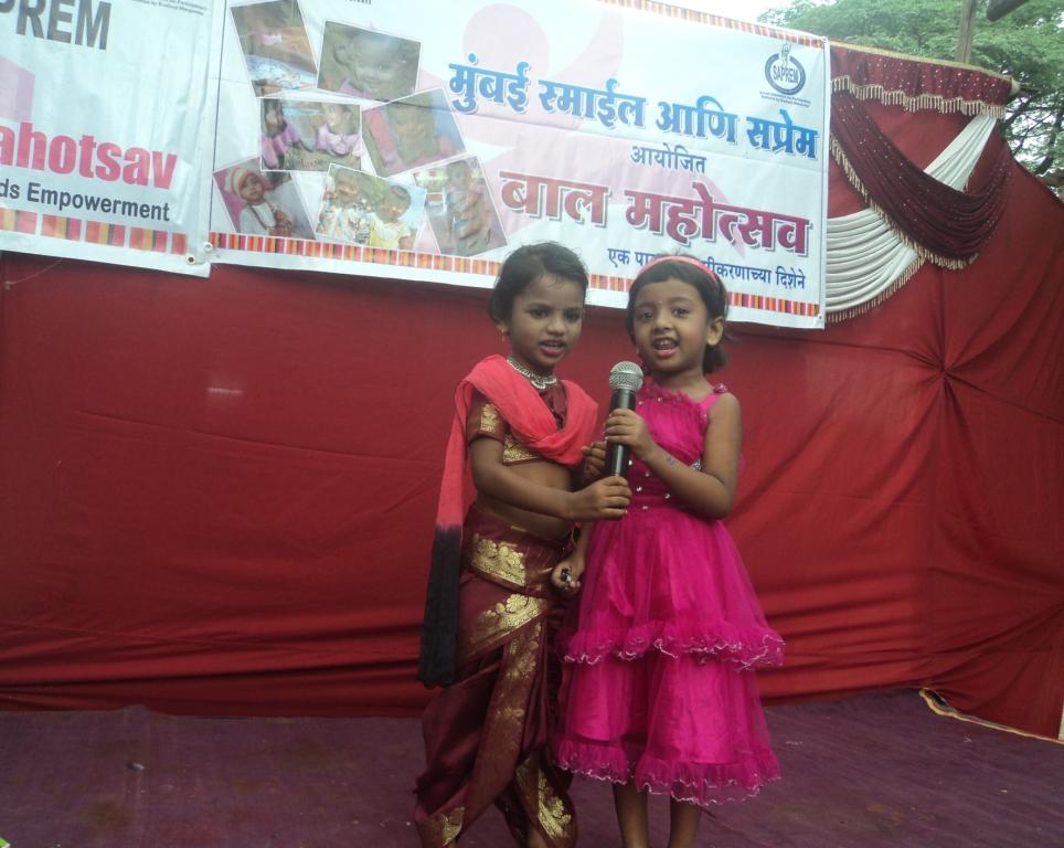 Balwadi children performing on stage