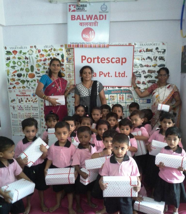 Portescap employees visit Balwadi to distribute Diwali Chocolates