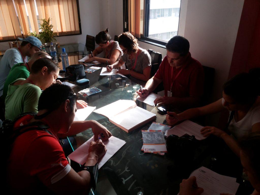 Visitors penning down their experience at Mumbai Smiles
