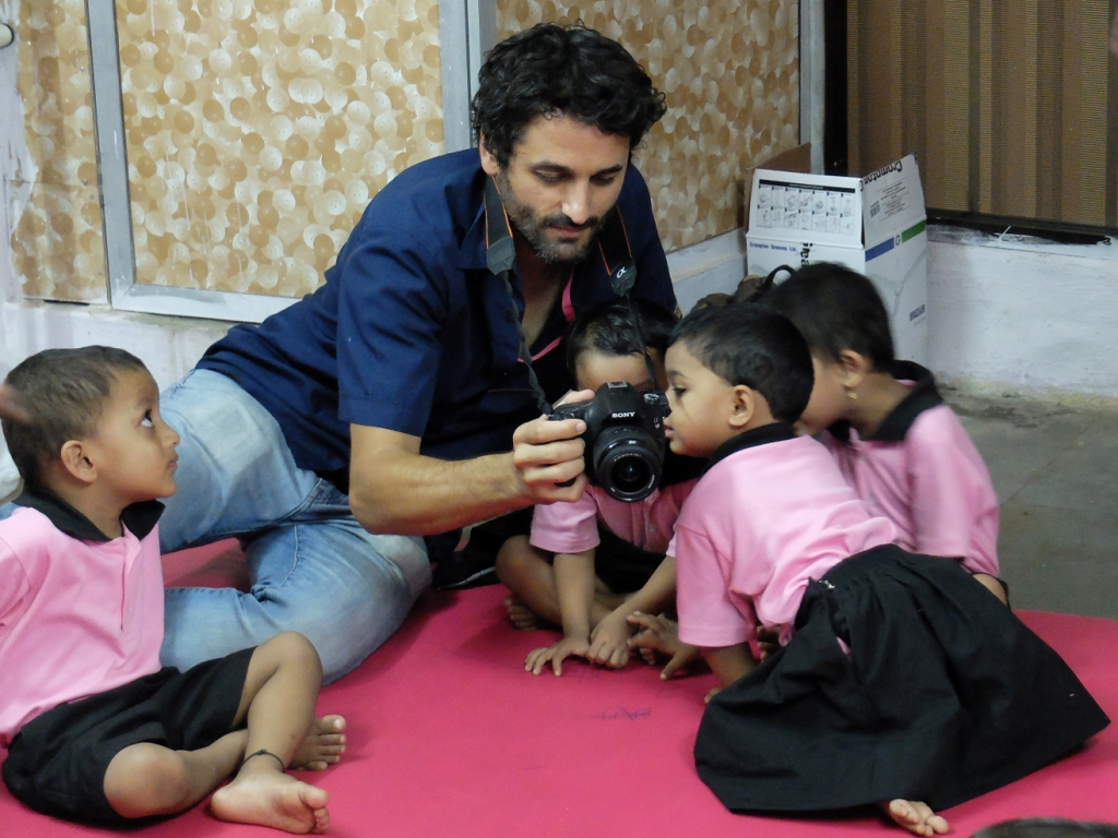 Oliver with the Balwadi children