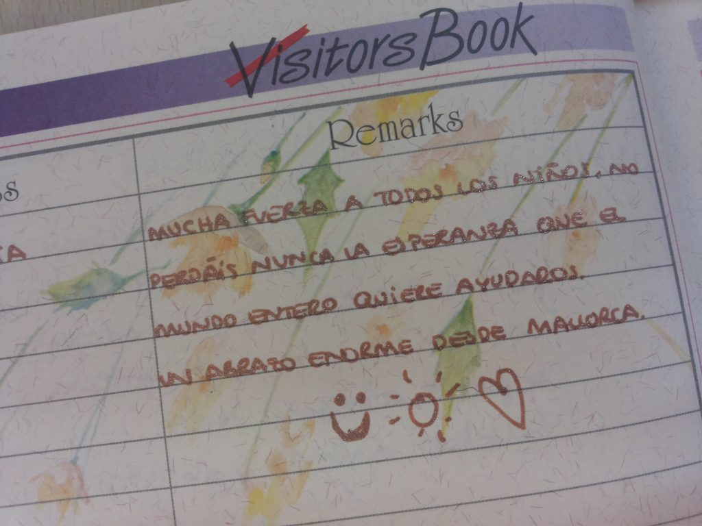 Comment in Spanish from the visitors after visiting HOPE project
